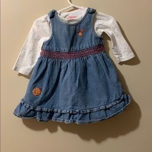 Girls jeans dress and long sleeve onesie 9 months